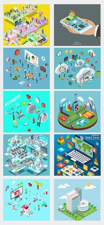 3d购物及生活场景插画