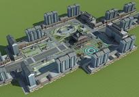 古建景观广场模型