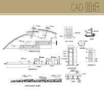 弧形喷水景墙详图 CAD