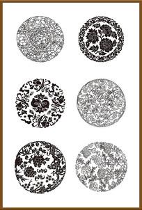 六套传统花纹矢量图案