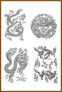 四套龙雕刻图案素材