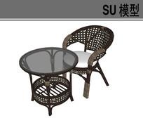 编织透气茶桌椅 skp