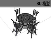 黑色钢铁桌椅 skp