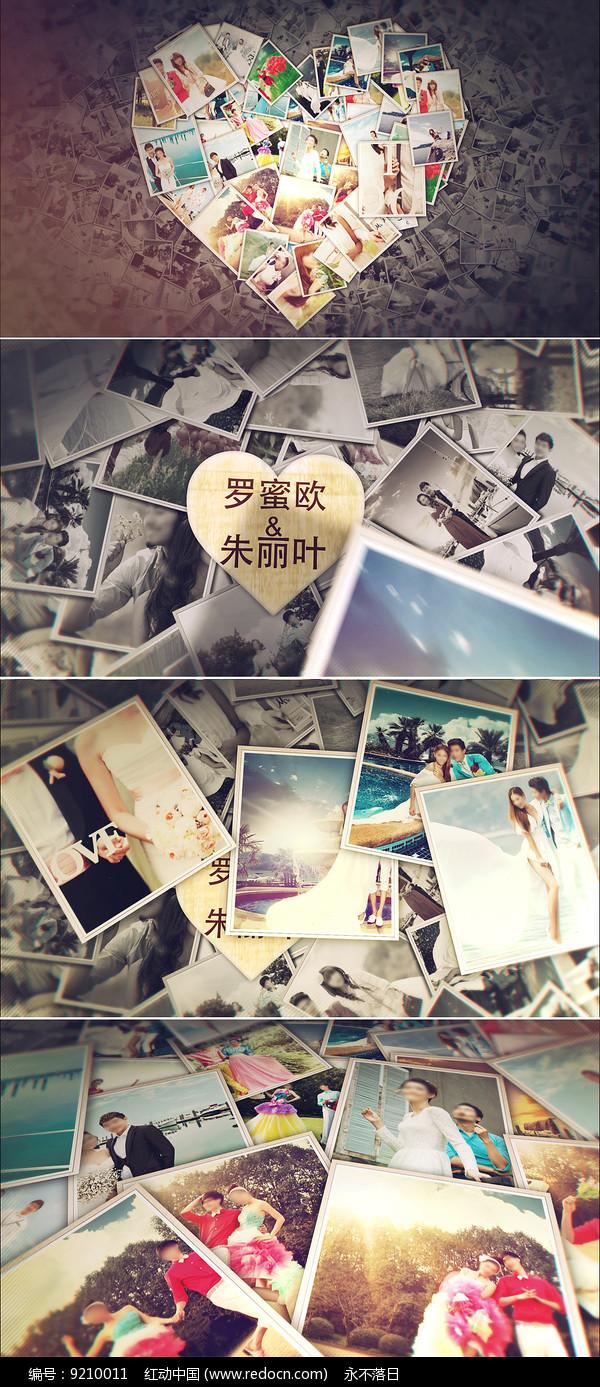 爱心照片墙婚礼相册模板 图片