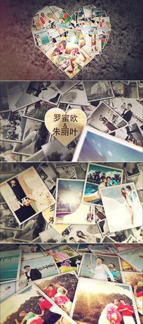 爱心照片墙婚礼相册模板  aep