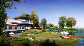 别墅沿湖景观