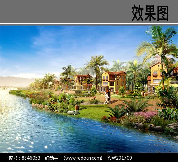 海南某湖别墅效果图图片