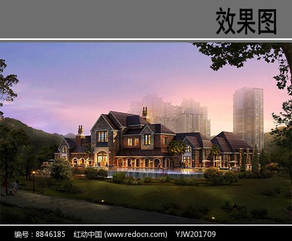 杭州某镇别墅效果图图片