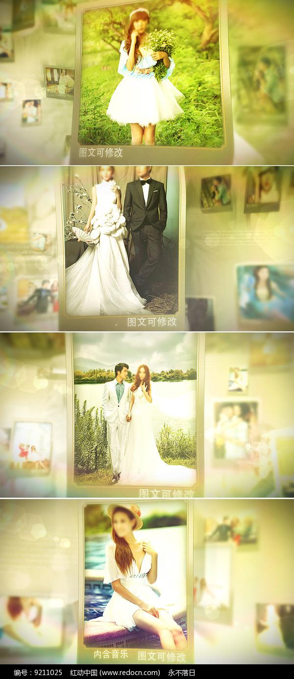 三维空间照片悬浮婚礼相册模板 图片
