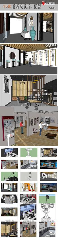 室内画廊展厅模型