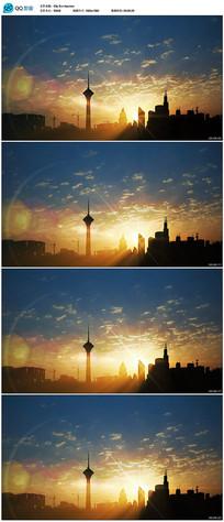 城市上空日出视频素材