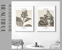 北欧风黑白花卉素描装饰画