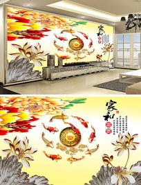 荷花彩雕立体壁画电视背景墙