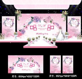 婚庆婚礼舞台背景PSD模板