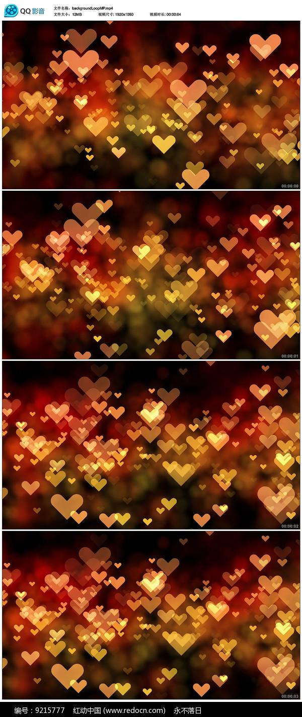 闪烁粒子爱心背景视频图片
