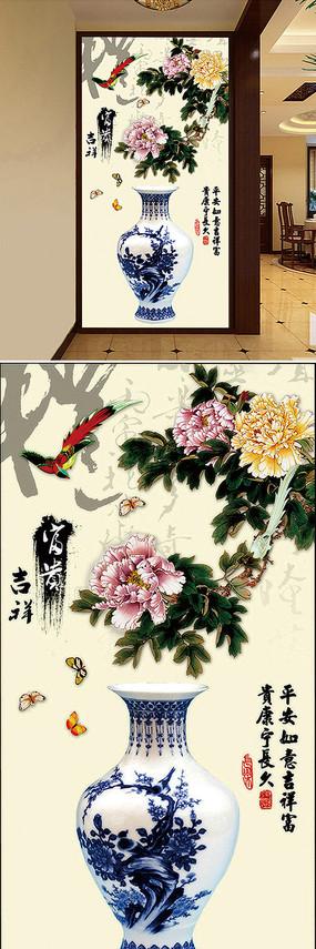中国风青花瓷文化艺术玄关隔断