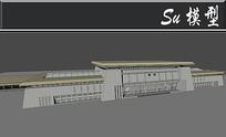 保定火车站灰色建筑模型