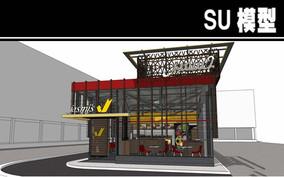 玻璃造型餐厅SU模型