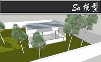 长方形透明窗户小屋子模型