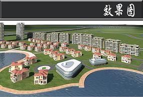 成都新区城市建设亲水广场效果