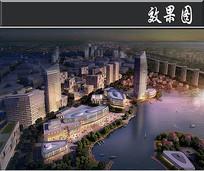 成都新区城市建设夜景鸟瞰图