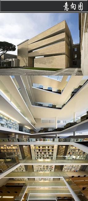 创意黄砖建筑书店意向图 JPG