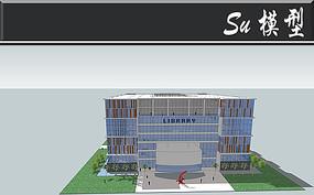 创意正方形图书馆建筑模型