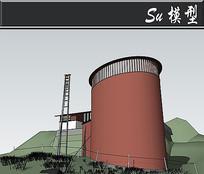 豆沙红圆形建筑模型