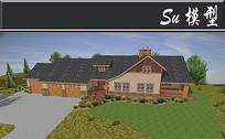 黑色屋顶复古小木屋模型