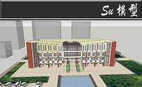 红黄色经典图书馆建筑模型