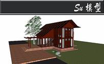 红色系中式别墅模型