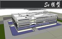 黄黑白穿插图书馆建筑模型