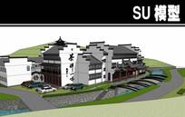 灰色屋檐白色墙壁茶楼SU模型