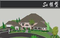 灰色屋顶粉色墙面别墅模型