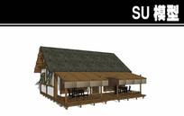 灰色屋檐中式茶楼SU模型