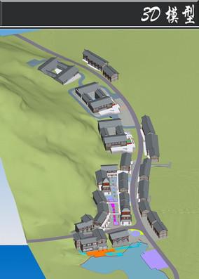 灰色沿街古建建筑3D模型