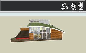 弧形屋顶别墅模型