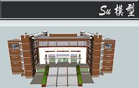 简易经典图书馆建筑模型