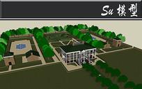 绿色别墅庭院模型