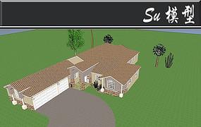 米色系别墅模型