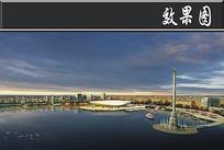 某滨海新城景观效果图
