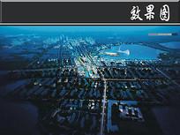 某滨海新城设计夜景鸟瞰图