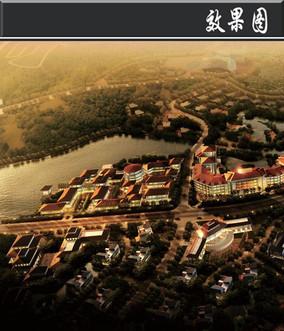 某滨水旅游区酒店度假区鸟瞰图