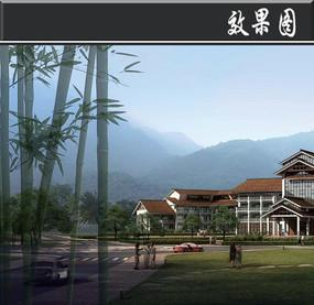 某滨水旅游区文化会堂效果图