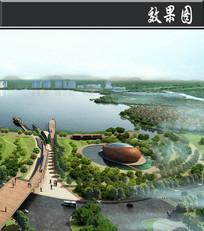 某湖城市设计景观效果图