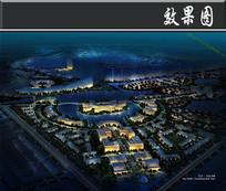 某湖旅游度假区城市夜景鸟瞰图 JPG