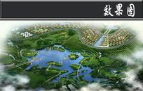 某生态公园规划中心湖区鸟瞰图 JPG