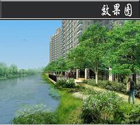 某小区景观工程滨河平台效果图