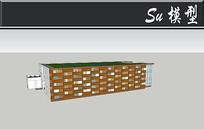 木头穿插创意图书馆建筑模型