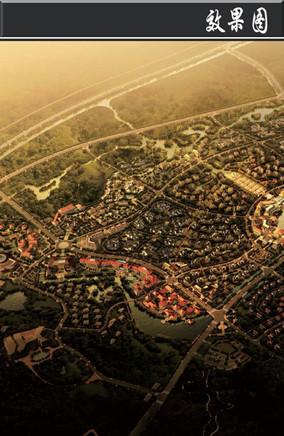 南京某滨水旅游区规划鸟瞰图